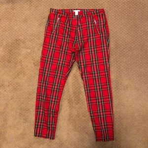 H&M Red Plaid Slacks Pants